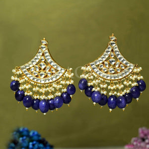 Jewellery Kundan Earrings With Blue Stones saree online