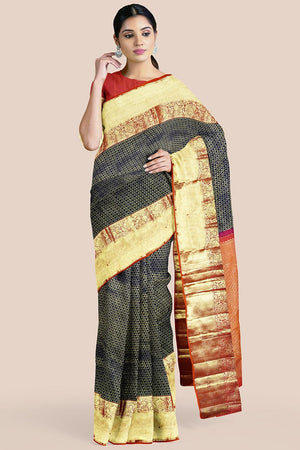 Buy Golden black zari handwoven pure silk kanjivaram saree online-karagiri