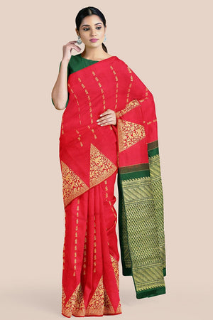 Buy Lava red zari handwoven pure silk kanjivaram saree online-karagiri