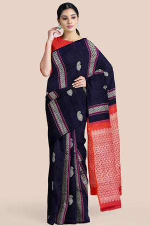 Buy Dark blue zari handwoven pure silk kanjivaram saree online-karagiri