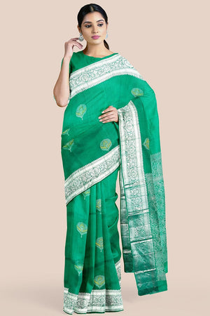 Buy Sea green zari handwoven pure silk kanjivaram saree online-karagiri