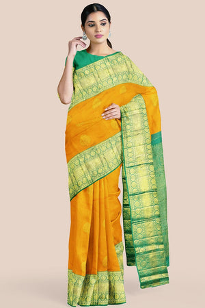 Buy Honey yellow zari handwoven pure silk kanjivaram saree online-karagiri