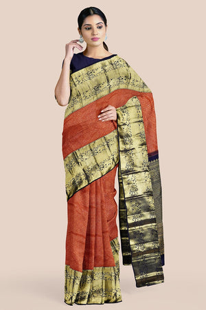 Buy Sienna brown zari handwoven pure silk kanjivaram saree online-karagiri
