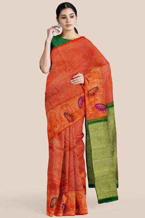 Buy Rusty orange zari handwoven pure silk kanjivaram saree online-karagiri