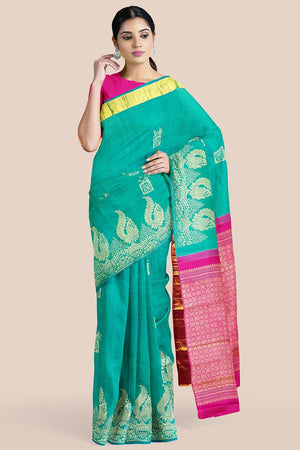 Buy Tiffany blue zari handwoven pure silk kanjivaram saree online-karagiri
