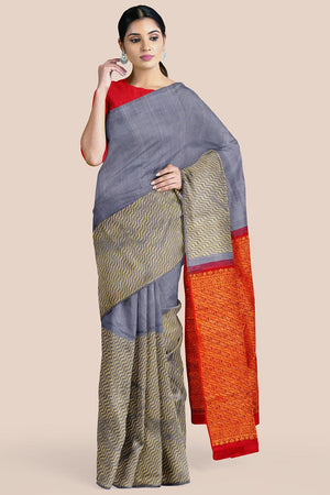Buy Steel blue zari handwoven pure silk kanjivaram saree online-karagiri