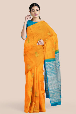 Buy Merigold orange zari handwoven pure silk kanjivaram saree online-karagiri