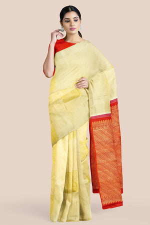 Buy Sugar cookie cream zari handwoven pure silk kanjivaram saree online-karagiri