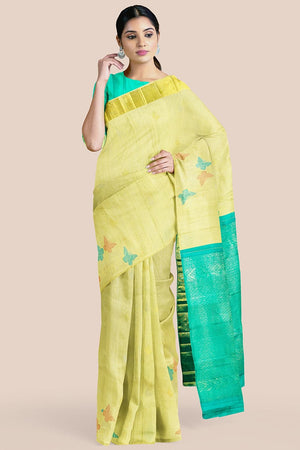 Buy Blonde yellow zari handwoven pure silk kanjivaram saree online-karagiri