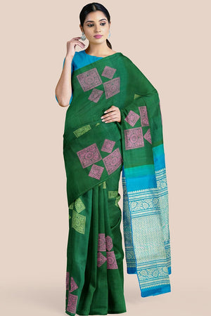 Buy Bottle green zari handwoven pure silk kanjivaram saree online-karagiri