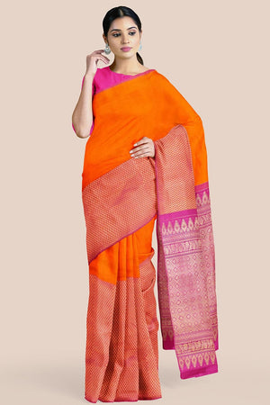 Buy Tiger orange zari handwoven pure silk kanjivaram saree online-karagiri