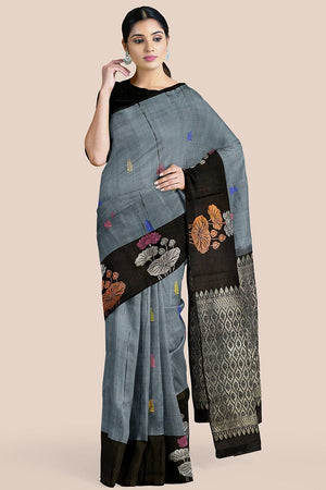 Buy Steel grey zari handwoven pure silk kanjivaram saree online-karagiri