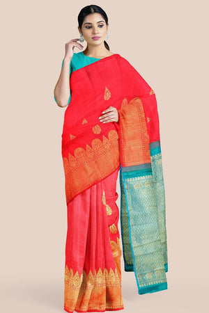 Buy Imperial red zari handwoven pure silk kanjivaram saree online-karagiri