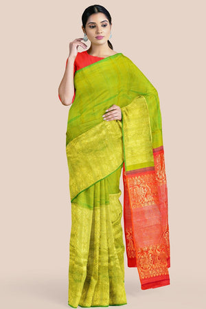 Buy Grass green zari handwoven pure silk kanjivaram saree online-karagiri