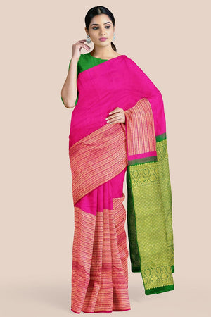 Buy Hot pink zari handwoven pure silk kanjivaram saree online-karagiri