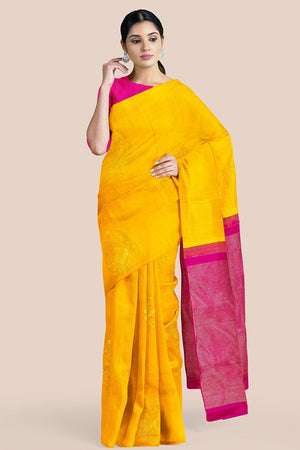Buy Canary yellow zari handwoven pure silk kanjivaram saree online-karagiri