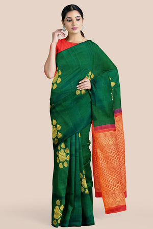 Buy Forest green zari handwoven pure silk kanjivaram saree online-karagiri