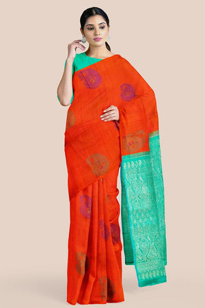 Buy Marmalade orange zari handwoven pure silk kanjivaram saree online-karagiri