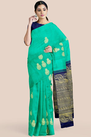 Buy Jungle green zari handwoven pure silk kanjivaram saree online-karagiri