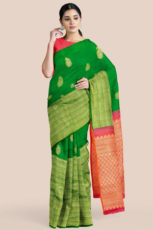 Buy Emerald green zari handwoven pure silk kanjivaram saree online-karagiri
