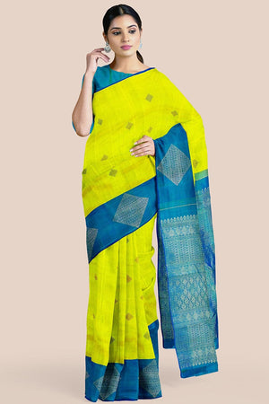 Buy Lime green zari handwoven pure silk kanjivaram saree online-karagiri