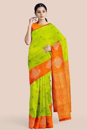 Buy Light green zari handwoven pure silk kanjivaram saree online-karagiri