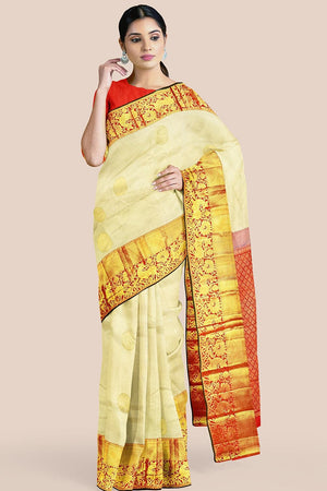 Buy Buttermilk cream zari handwoven pure silk kanjivaram saree online-karagiri