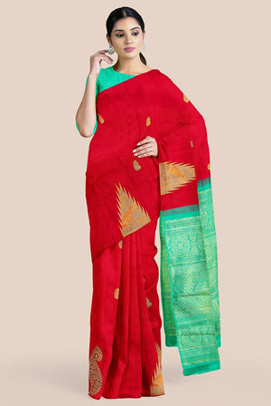 Buy Deep red zari handwoven pure silk kanjivaram saree online-karagiri