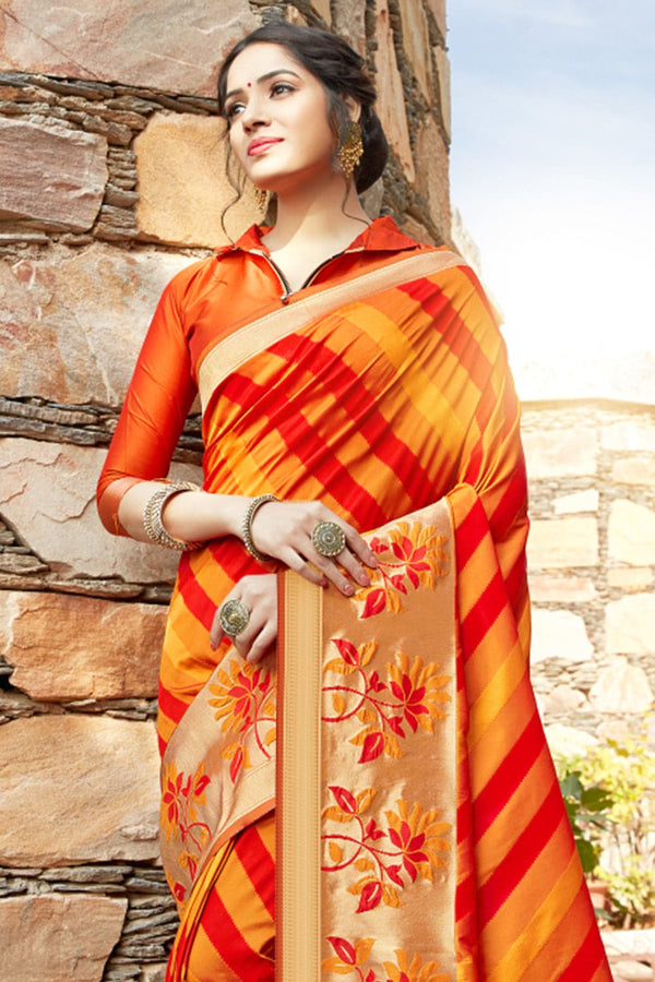 Sunrise orange banarasi saree
