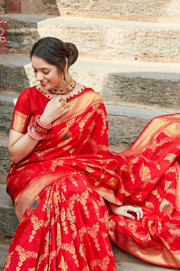 Candy red banarasi saree