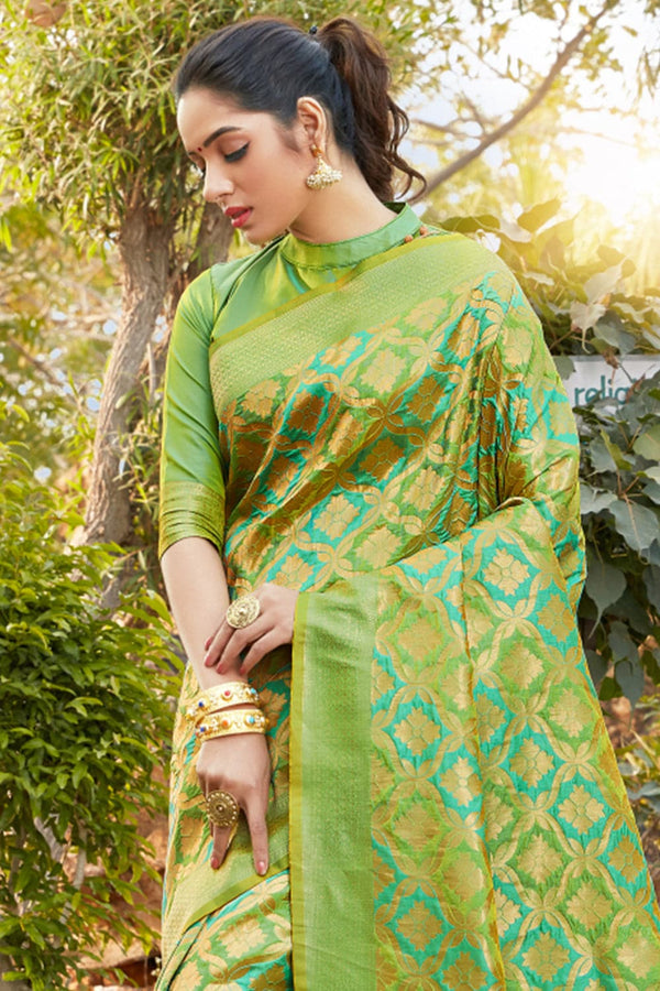 Caterpiller green banarasi saree