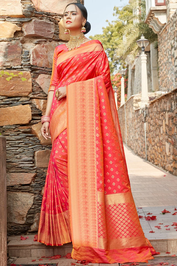 Imperial red banarasi saree