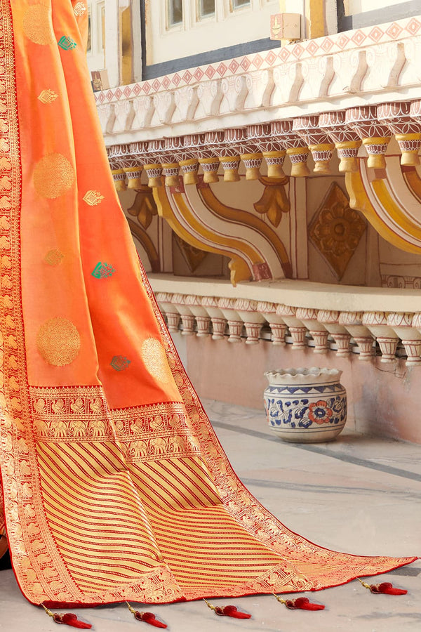 Royal orange banarasi saree - Buy online on Karagiri - Free shipping to USA