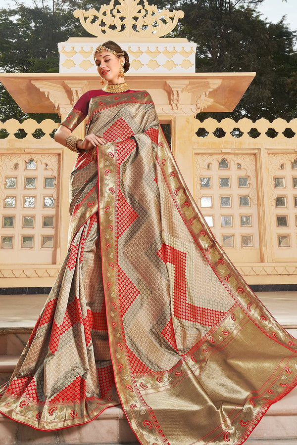 Copper red banarasi saree