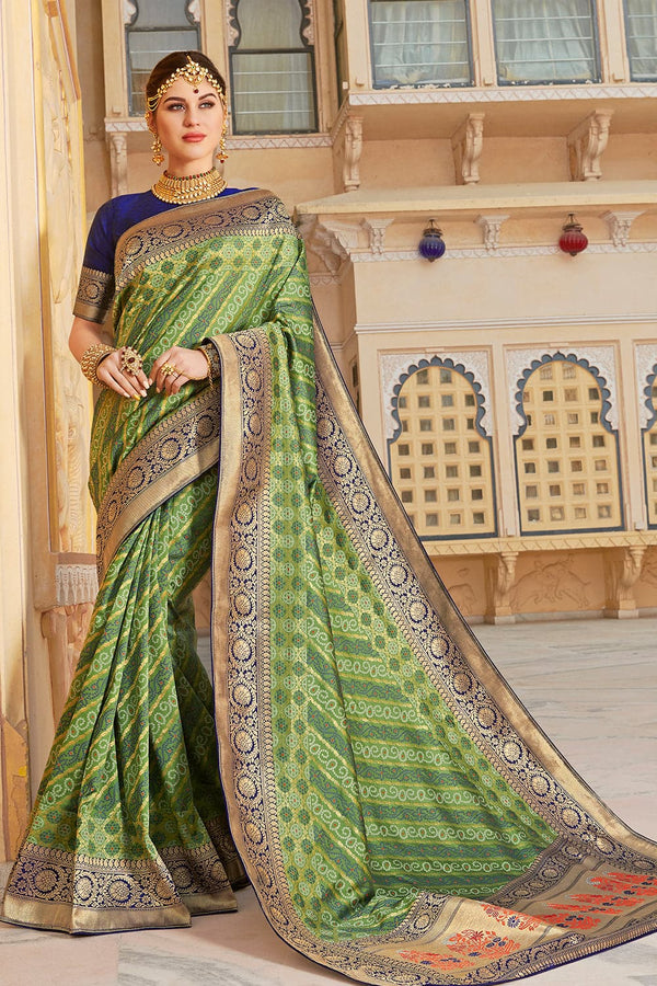 Pickle green banarasi saree