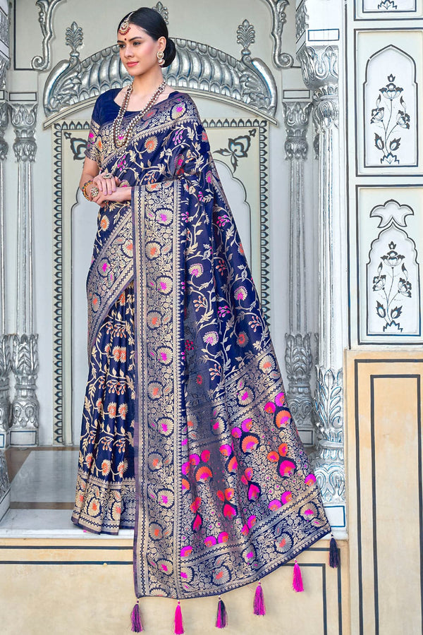 Navy blue zari woven banarasi brocade Saree - Buy online on Karagiri - Free shipping to USA