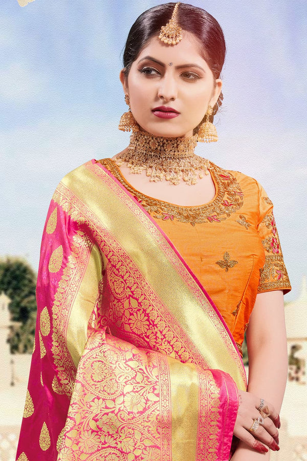 Dark pink banarasi saree