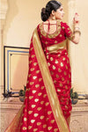 Jam red banarasi saree