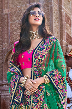 Pink,green embroidered silk Lehenga with embroidered blouse and net dupatta - Buy online on Karagiri - Free shipping to USA