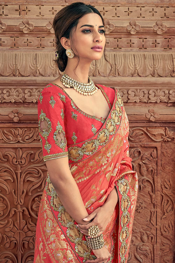 Coral pink woven designer banarasi saree with embroidered silk blouse - Wedding sutra collection - Buy online on Karagiri - Free shipping to USA