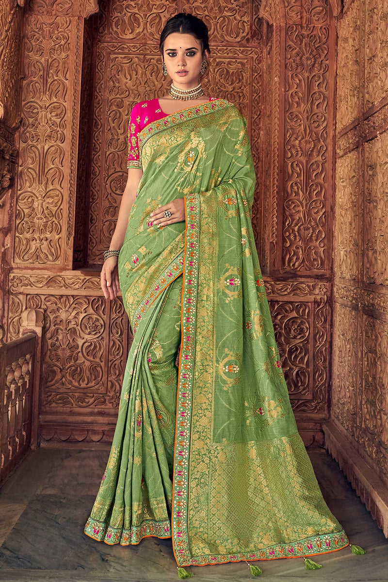 Asparagus green woven designer banarasi saree with embroidered silk blouse - Wedding sutra collection - Buy online on Karagiri - Free shipping to USA