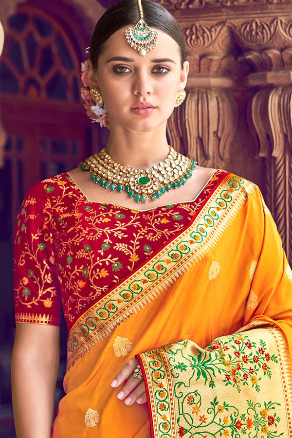 Fire yellow woven designer banarasi saree with embroidered silk blouse - Wedding sutra collection - Buy online on Karagiri - Free shipping to USA