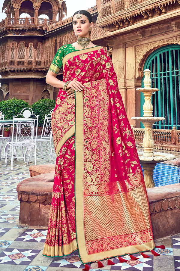 Dark pink woven designer banarasi saree with embroidered silk blouse - Wedding sutra collection - Buy online on Karagiri - Free shipping to USA