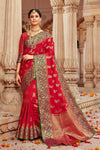Cherry red banarasi  saree - Buy online on Karagiri - Free shipping to USA