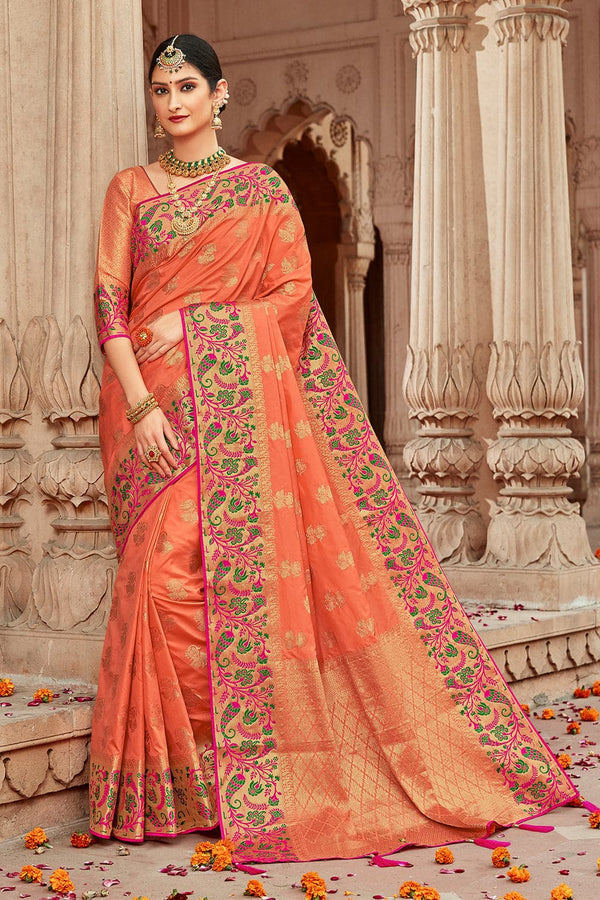 Coral pink banarasi  saree - Buy online on Karagiri - Free shipping to USA