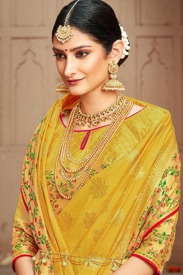 Corn yellow banarasi  saree - Buy online on Karagiri - Free shipping to USA