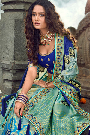 Powder blue embroidered silk Lehenga with embroidered blouse and  dupatta - Buy online on Karagiri - Free shipping to USA