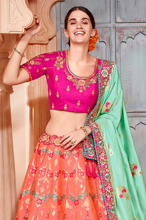 Get Salmon peach banarasi lehenga at best price online-karagiri