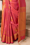 French Rose Zari Woven Chanderi Saree