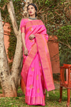 Hot Pink Zari Woven Chanderi Saree